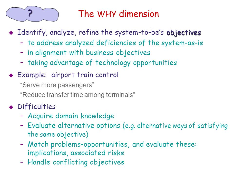 The WHY dimension objectives  Identify, analyze, refine the system-to-be's objectives –to address analyzed deficiencies of the system-as-is –in align