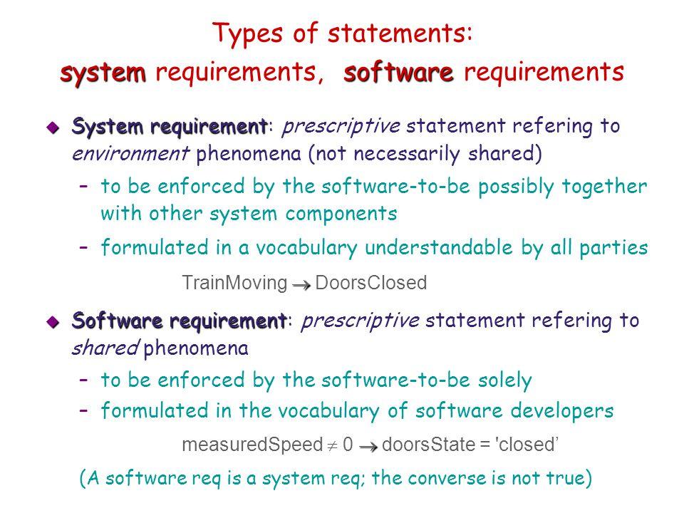 Types of scenario  Positive  Positive scenario = one behavior the system should cover (example)  Negative  Negative scenario = one behavior the system should exclude (counter-example), e.g.