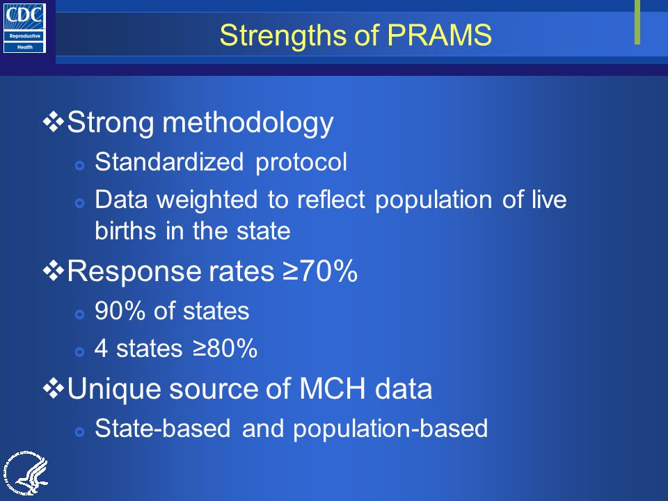 Strengths of PRAMS  Strong methodology  Standardized protocol  Data weighted to reflect population of live births in the state  Response rates ≥70%  90% of states  4 states ≥80%  Unique source of MCH data  State-based and population-based