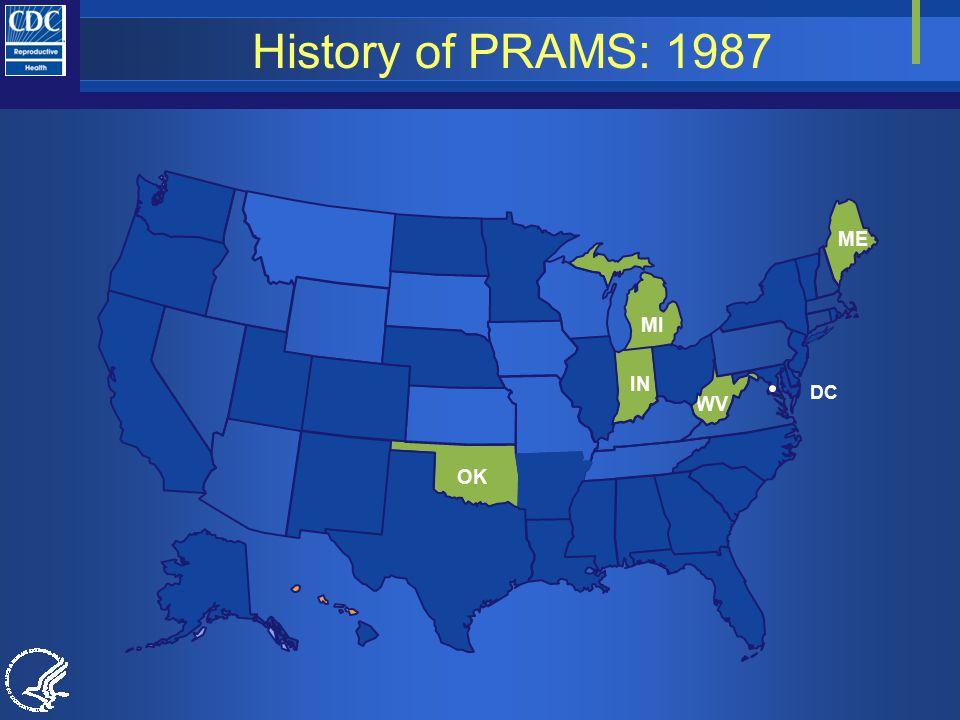 History of PRAMS: 1987 OK IN MI ME WV TX DC