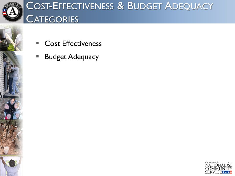 C OST -E FFECTIVENESS & B UDGET A DEQUACY C ATEGORIES  Cost Effectiveness  Budget Adequacy