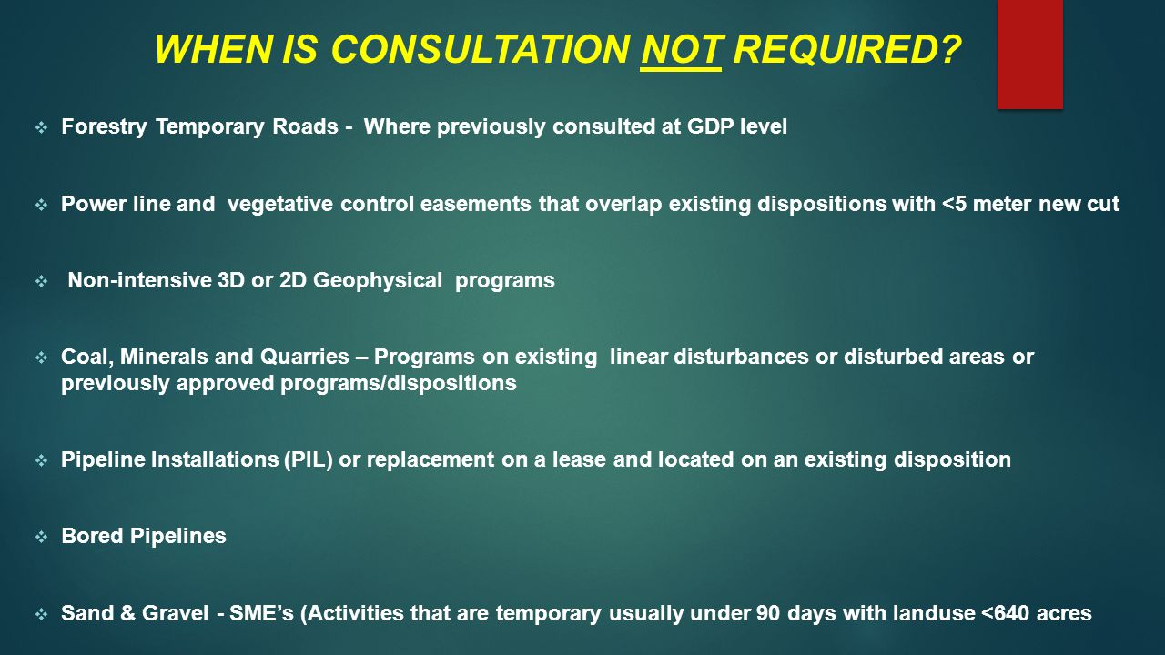 WHEN IS CONSULTATION NOT REQUIRED.