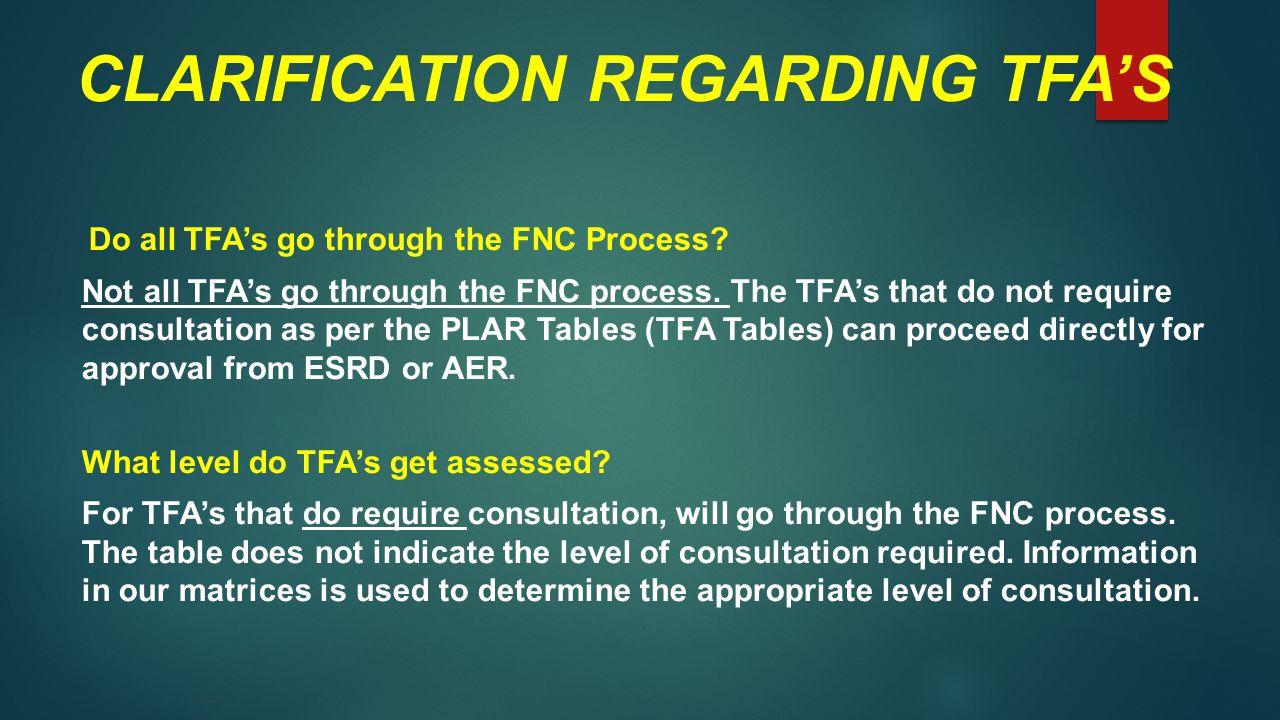 CLARIFICATION REGARDING TFA'S Do all TFA's go through the FNC Process.