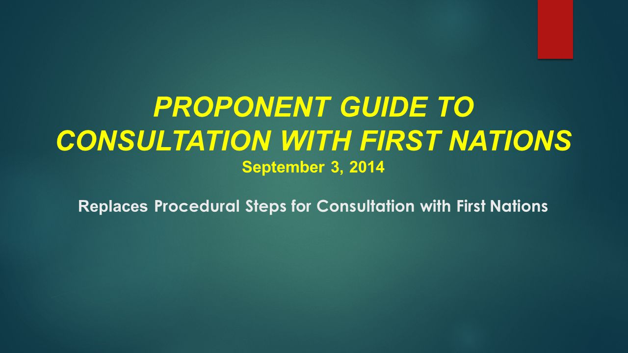 PROPONENT GUIDE TO CONSULTATION WITH FIRST NATIONS September 3, 2014 Replaces Procedural Steps for Consultation with First Nations