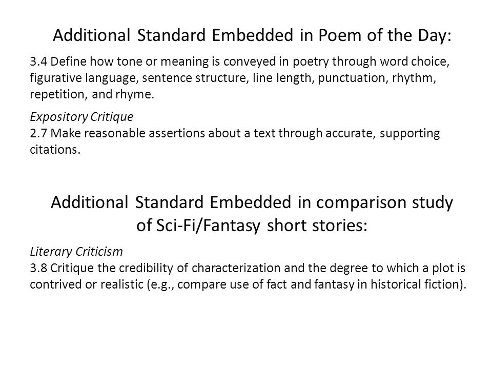 Additional Standard Embedded in Poem of the Day: 3.4 Define how tone or meaning is conveyed in poetry through word choice, figurative language, senten