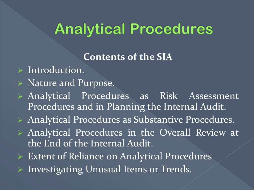 Contents of the SIA  Introduction.  Nature and Purpose.  Analytical Procedures as Risk Assessment Procedures and in Planning the Internal Audit. 
