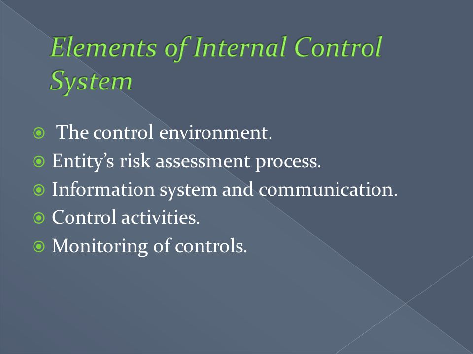  The control environment.  Entity's risk assessment process.  Information system and communication.  Control activities.  Monitoring of controls.
