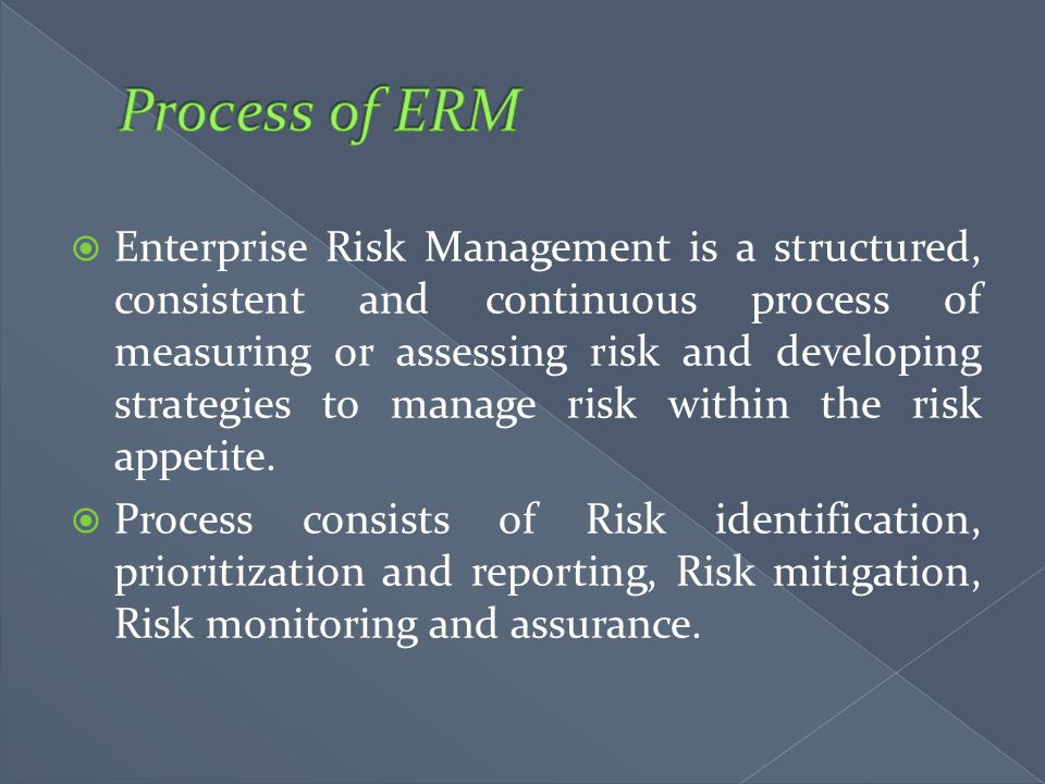  Enterprise Risk Management is a structured, consistent and continuous process of measuring or assessing risk and developing strategies to manage ris