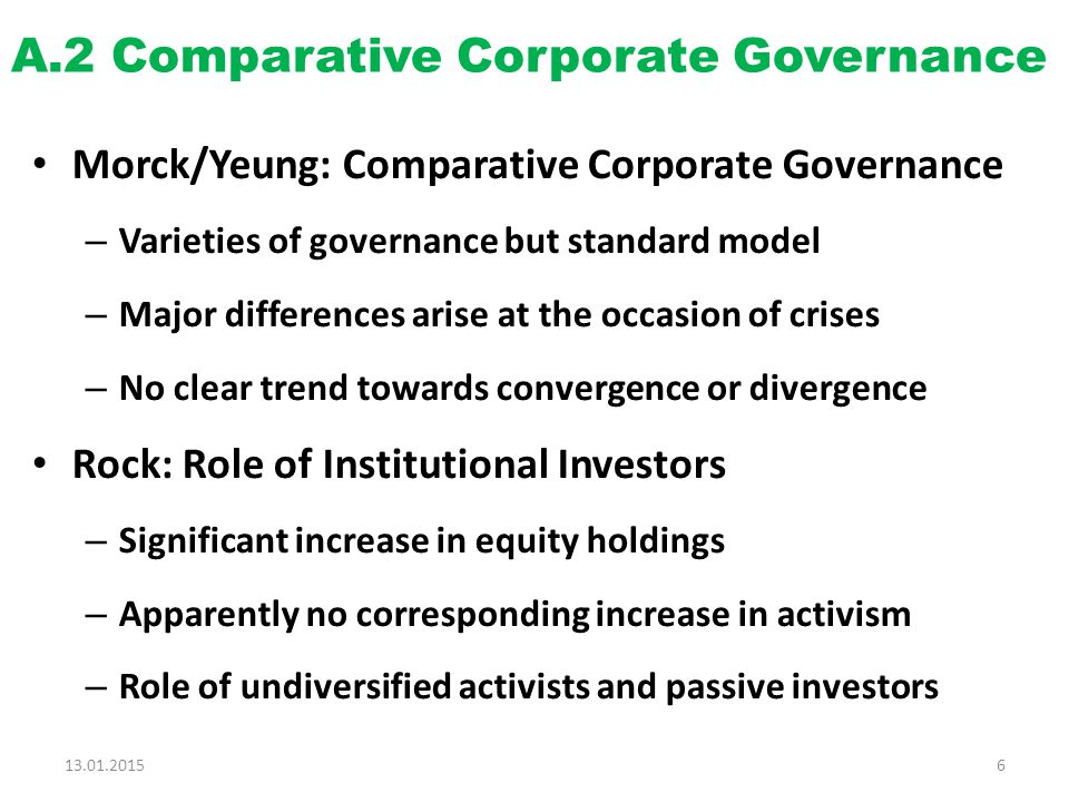 A.2 Comparative Corporate Governance Morck/Yeung: Comparative Corporate Governance – Varieties of governance but standard model – Major differences arise at the occasion of crises – No clear trend towards convergence or divergence Rock: Role of Institutional Investors – Significant increase in equity holdings – Apparently no corresponding increase in activism – Role of undiversified activists and passive investors 13.01.20156