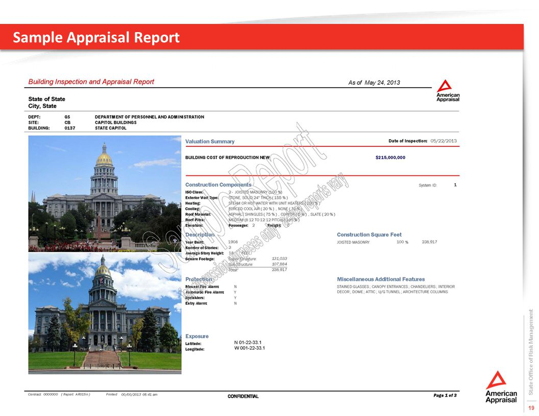 Sample Appraisal Report State Office of Risk Management 19