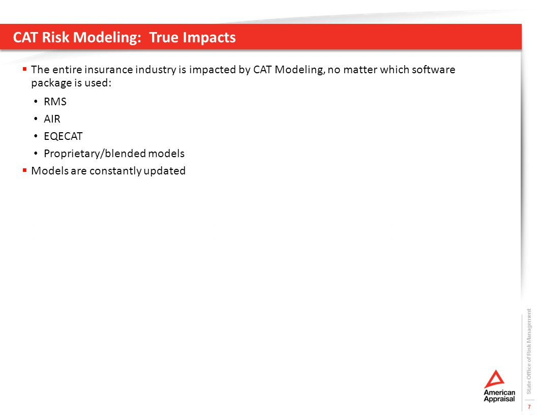 CAT Risk Modeling: True Impacts  The entire insurance industry is impacted by CAT Modeling, no matter which software package is used: RMS AIR EQECAT Proprietary/blended models  Models are constantly updated State Office of Risk Management 7