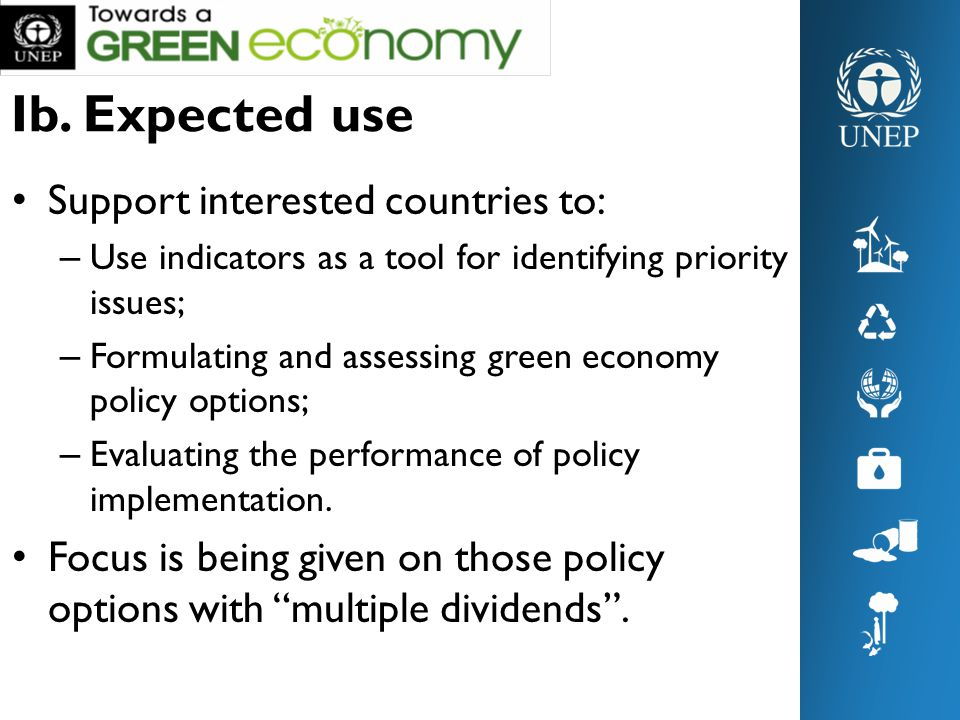 Ib. Expected use Support interested countries to: – Use indicators as a tool for identifying priority issues; – Formulating and assessing green econom