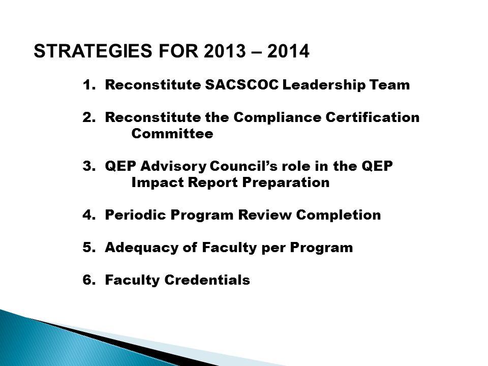 STRATEGIES FOR 2013 – 2014 1. Reconstitute SACSCOC Leadership Team 2.