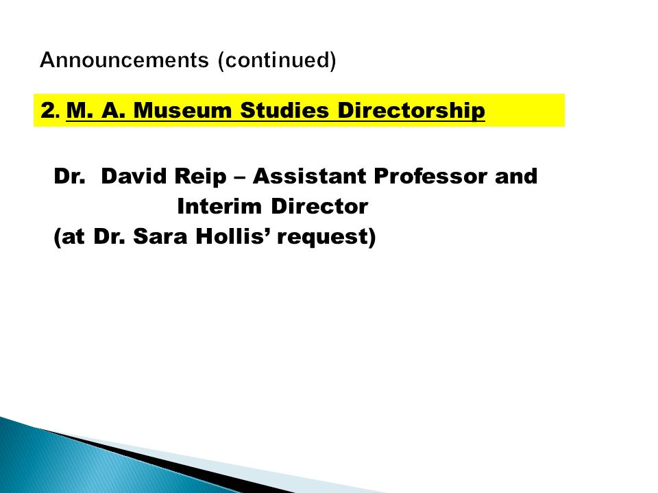 Dr. David Reip – Assistant Professor and Interim Director (at Dr.