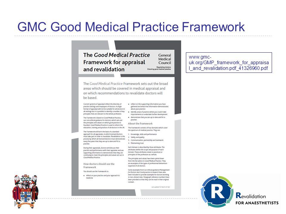 GMC Good Medical Practice Framework www.gmc- uk.org/GMP_framework_for_appraisa l_and_revalidation.pdf_41326960.pdf