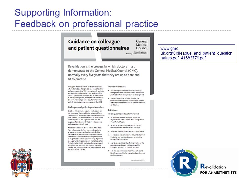 Supporting Information: Feedback on professional practice www.gmc- uk.org/Colleague_and_patient_question naires.pdf_41683779.pdf
