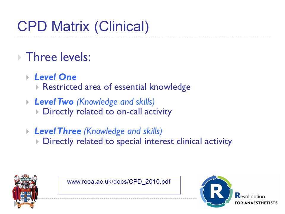 CPD Matrix (Clinical)  Three levels:  Level One  Restricted area of essential knowledge  Level Two (Knowledge and skills)  Directly related to on-call activity  Level Three (Knowledge and skills)  Directly related to special interest clinical activity www.rcoa.ac.uk/docs/CPD_2010.pdf