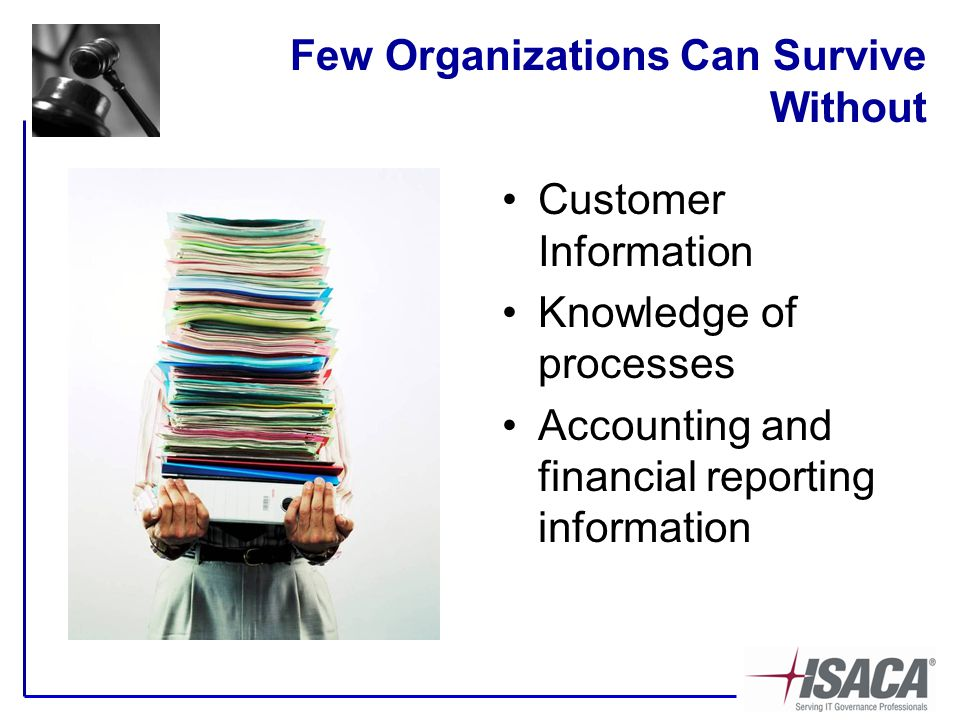 Few Organizations Can Survive Without Customer Information Knowledge of processes Accounting and financial reporting information