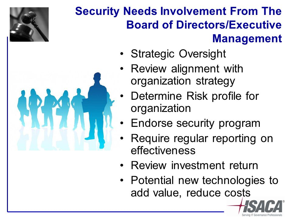 Security Needs Involvement From The Board of Directors/Executive Management Strategic Oversight Review alignment with organization strategy Determine Risk profile for organization Endorse security program Require regular reporting on effectiveness Review investment return Potential new technologies to add value, reduce costs