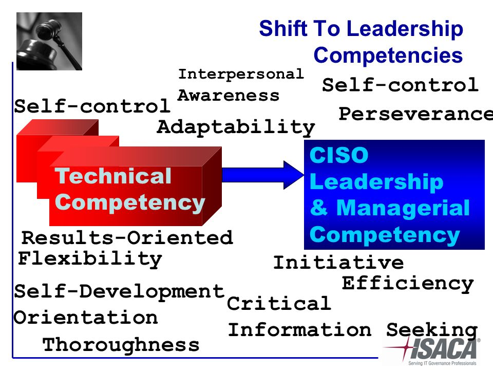 Shift To Leadership Competencies Technical Competency CISO Leadership & Managerial Competency Adaptability Self-control Self-Development Orientation Flexibility Interpersonal Awareness Perseverance Self-control Critical Information Seeking Efficiency Initiative Thoroughness Results-Oriented