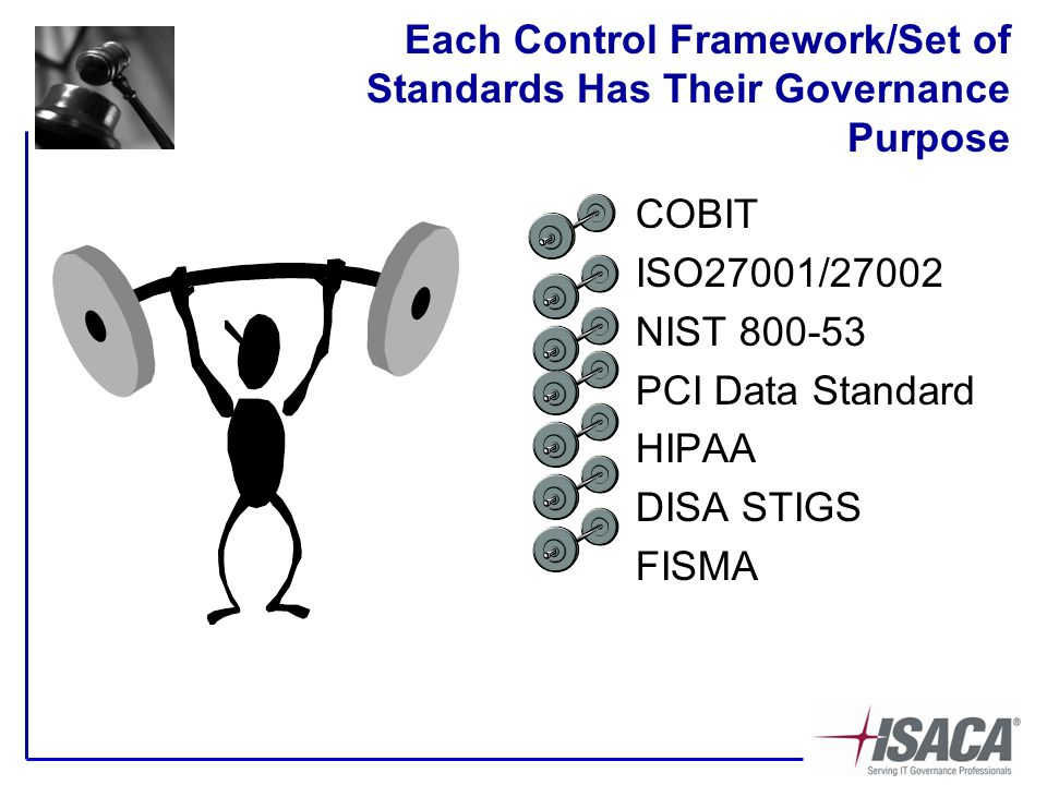 Each Control Framework/Set of Standards Has Their Governance Purpose COBIT ISO27001/27002 NIST 800-53 PCI Data Standard HIPAA DISA STIGS FISMA