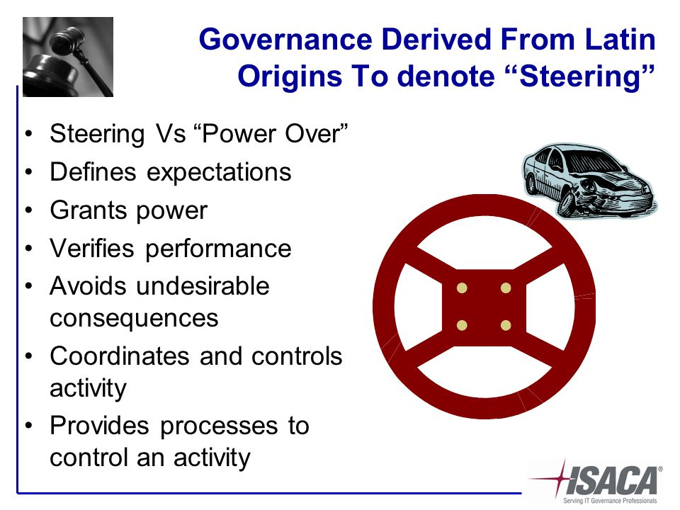 Governance Derived From Latin Origins To denote Steering Steering Vs Power Over Defines expectations Grants power Verifies performance Avoids undesirable consequences Coordinates and controls activity Provides processes to control an activity