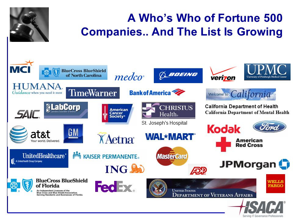 A Who's Who of Fortune 500 Companies.. And The List Is Growing St.