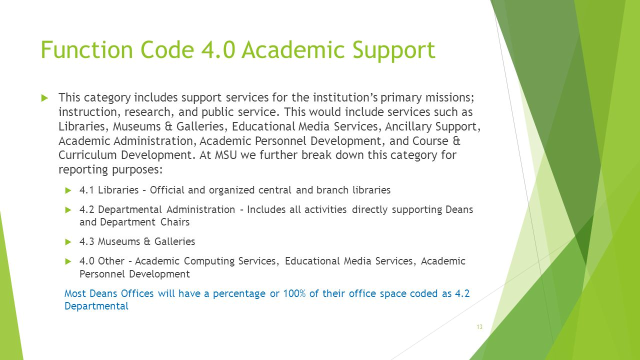Function Code 4.0 Academic Support  This category includes support services for the institution's primary missions; instruction, research, and public
