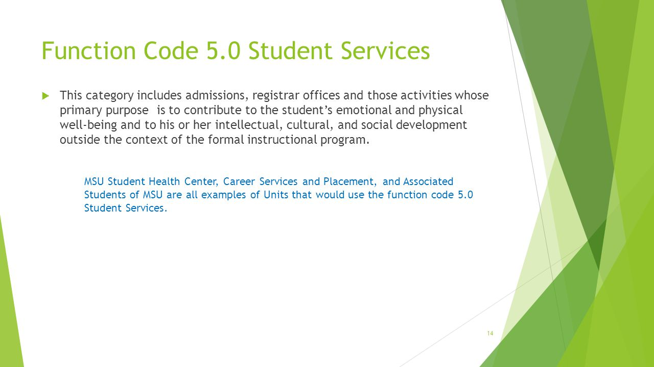 Function Code 5.0 Student Services  This category includes admissions, registrar offices and those activities whose primary purpose is to contribute to the student's emotional and physical well-being and to his or her intellectual, cultural, and social development outside the context of the formal instructional program.