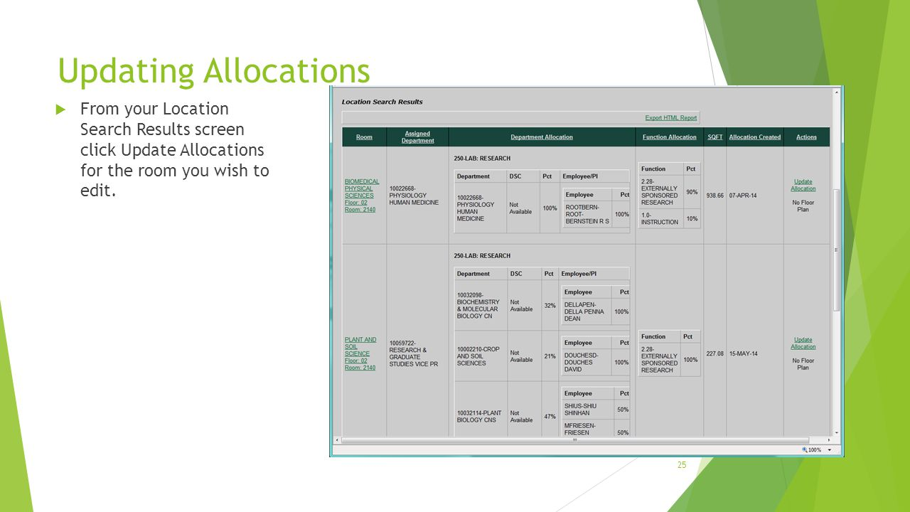 Updating Allocations  From your Location Search Results screen click Update Allocations for the room you wish to edit. 25