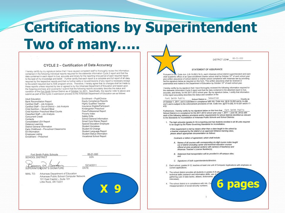 Certifications by Superintendent Two of many….. X 9 8 pages X 9 6 pages
