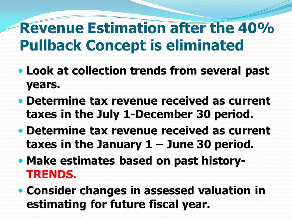 Revenue Estimation after the 40% Pullback Concept is eliminated Look at collection trends from several past years.
