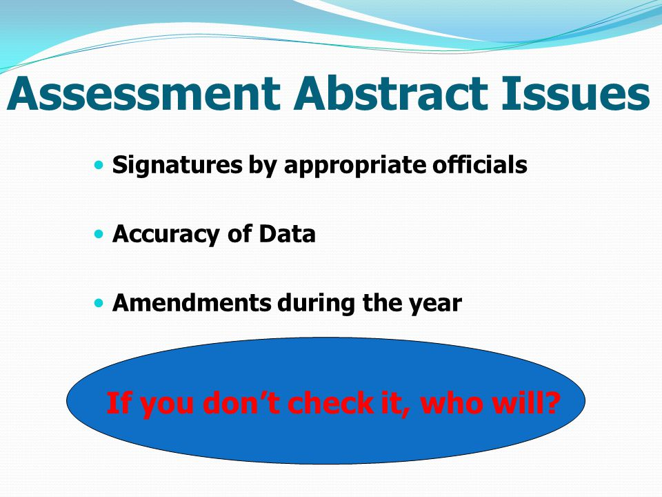 Assessment Abstract Issues Signatures by appropriate officials Accuracy of Data Amendments during the year If you don't check it, who will?