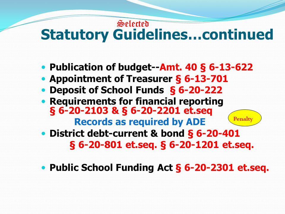 Statutory Guidelines…continued Publication of budget--Amt.