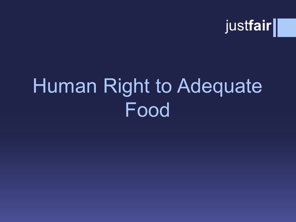 Human Right to Adequate Food  Adequacy: food must satisfy dietary needs, taking into account the individual's age, living conditions, health, occupation, sex, etc.