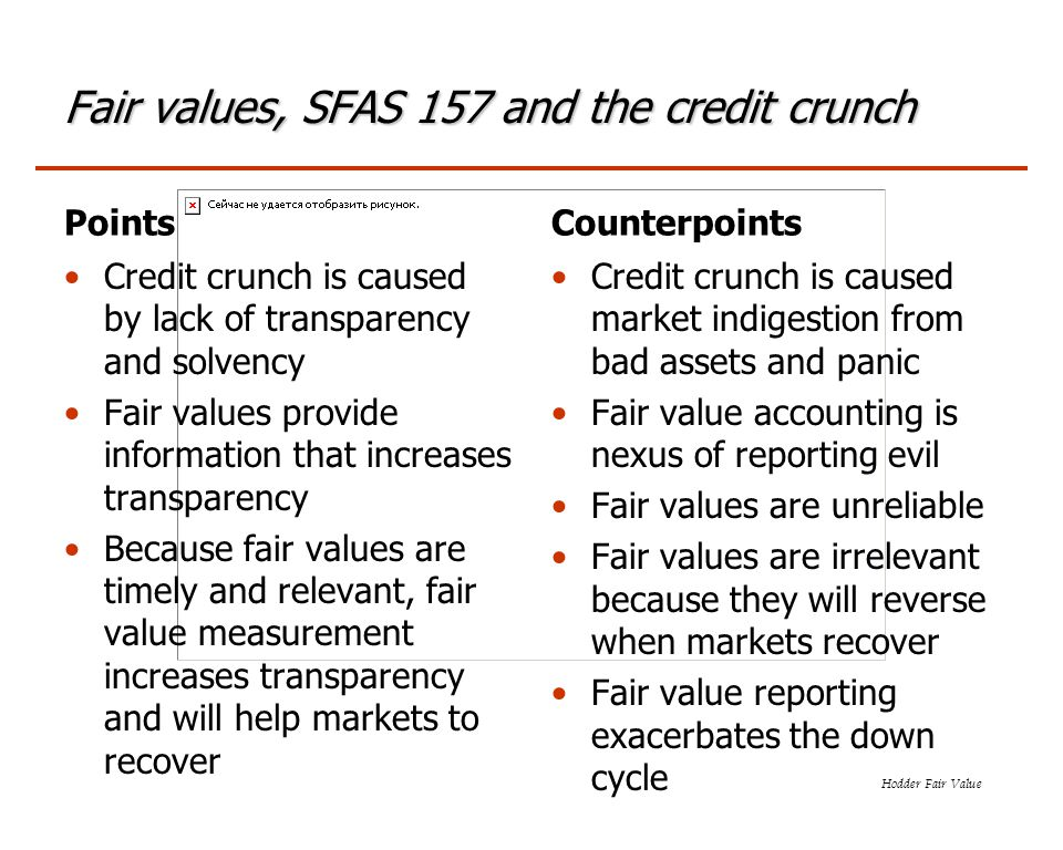 Hodder Fair Value Fair values, SFAS 157 and the credit crunch Points Credit crunch is caused by lack of transparency and solvency Fair values provide