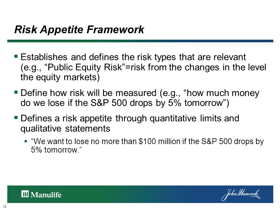 Risk Appetite Framework 12  Establishes and defines the risk types that are relevant (e.g., Public Equity Risk =risk from the changes in the level the equity markets)  Define how risk will be measured (e.g., how much money do we lose if the S&P 500 drops by 5% tomorrow )  Defines a risk appetite through quantitative limits and qualitative statements  We want to lose no more than $100 million if the S&P 500 drops by 5% tomorrow.