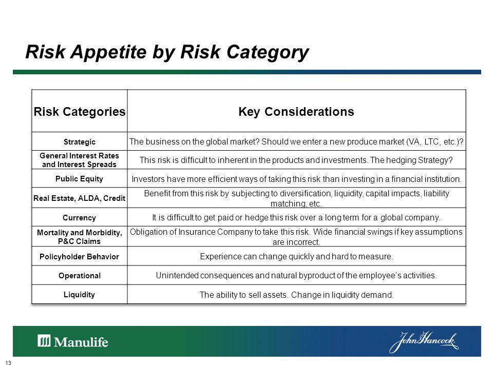 Risk Appetite by Risk Category 13