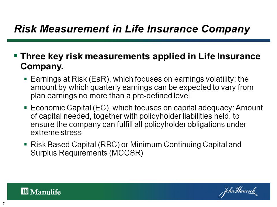 Risk Measurement in Life Insurance Company 7  Three key risk measurements applied in Life Insurance Company.