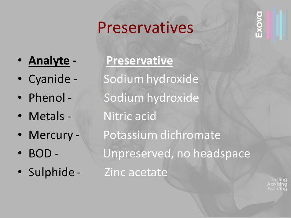 Preservatives Analyte - Preservative Cyanide - Sodium hydroxide Phenol - Sodium hydroxide Metals - Nitric acid Mercury - Potassium dichromate BOD - Un