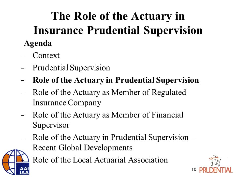 The Role of the Actuary in Insurance Prudential Supervision Agenda ̵ Context ̵ Prudential Supervision ̵ Role of the Actuary in Prudential Supervision ̵ Role of the Actuary as Member of Regulated Insurance Company ̵ Role of the Actuary as Member of Financial Supervisor ̵ Role of the Actuary in Prudential Supervision – Recent Global Developments ̵ Role of the Local Actuarial Association 10