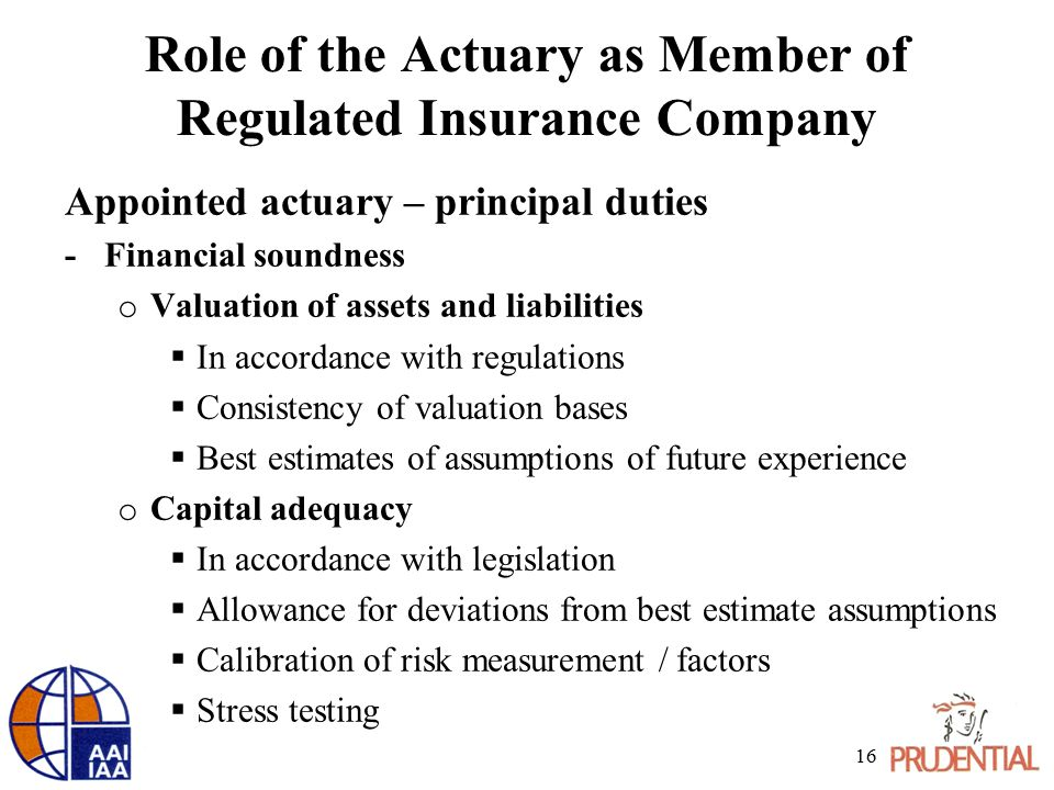 Role of the Actuary as Member of Regulated Insurance Company Appointed actuary – principal duties -Financial soundness o Valuation of assets and liabi
