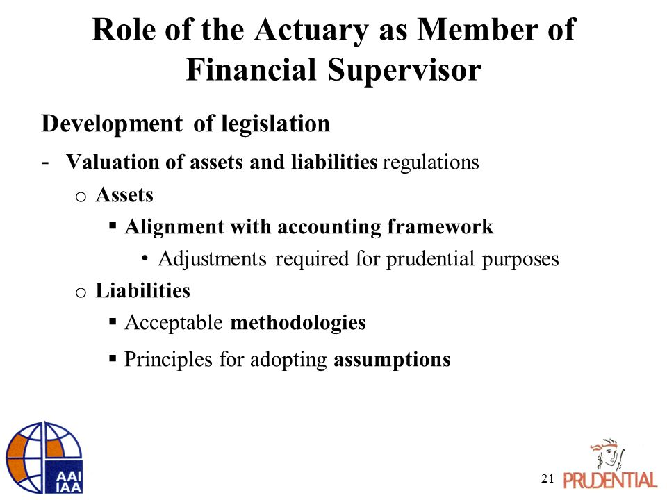 Role of the Actuary as Member of Financial Supervisor Development of legislation - Valuation of assets and liabilities regulations o Assets  Alignment with accounting framework Adjustments required for prudential purposes o Liabilities  Acceptable methodologies  Principles for adopting assumptions 21