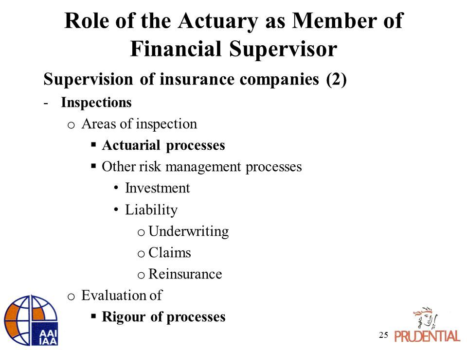 Role of the Actuary as Member of Financial Supervisor Supervision of insurance companies (2) -Inspections o Areas of inspection  Actuarial processes  Other risk management processes Investment Liability o Underwriting o Claims o Reinsurance o Evaluation of  Rigour of processes 25