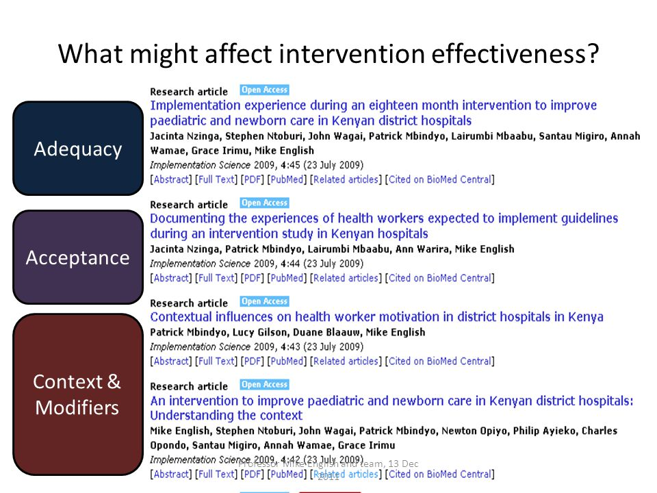 What might affect intervention effectiveness.