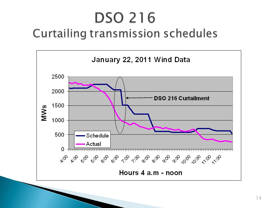 DSO 216 Curtailing transmission schedules 14