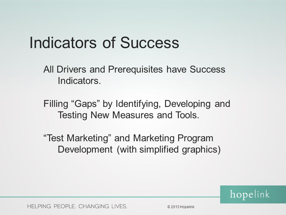 """Indicators of Success All Drivers and Prerequisites have Success Indicators. Filling """"Gaps"""" by Identifying, Developing and Testing New Measures and To"""