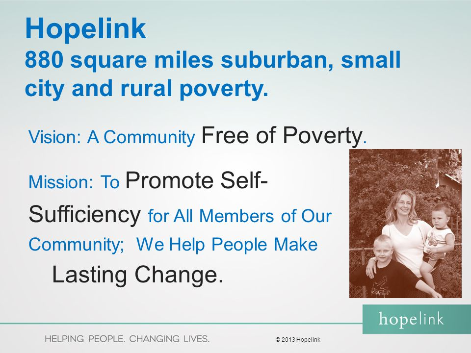 Hopelink Model Self-Sufficiency Journey Self-Sufficiency Matrix – Life Domain Focus (Arizona Model) Self Sufficiency Calculator (compares to Living Wage Standard) Alliance for Children & Families Sponsored Global Literature Review Internal Client Study – Voice of the Customer and Asset Building ProcessImprovement.