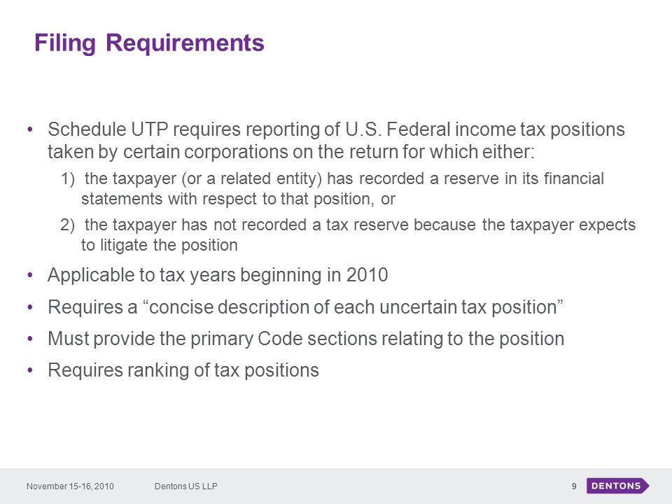 Filing Requirements Schedule UTP requires reporting of U.S.