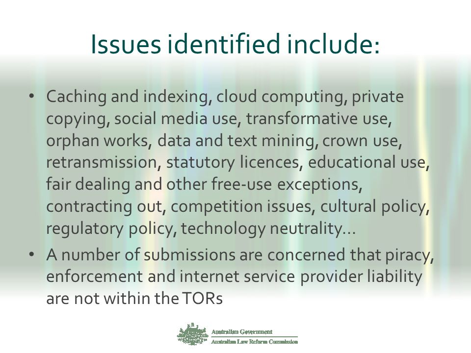 Issues identified include: Caching and indexing, cloud computing, private copying, social media use, transformative use, orphan works, data and text m